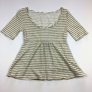 J Crew Tan Striped Peplum 1/2 Sleeve Shirt